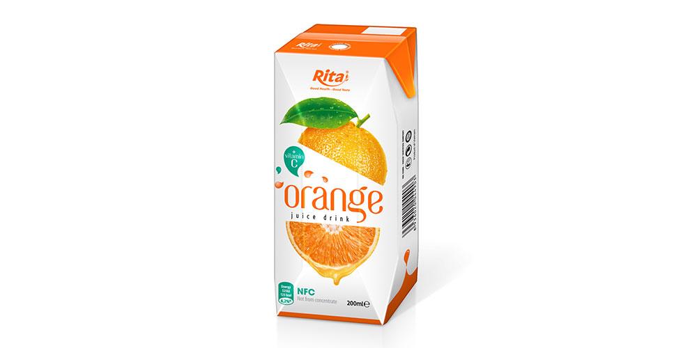 200ml Paper Box Fresh Orange Juice Rita Brand
