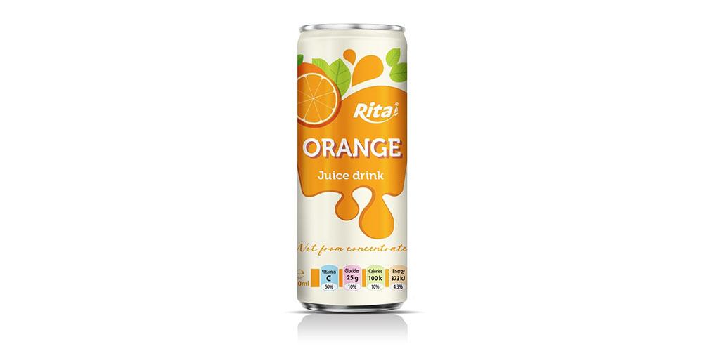 Orange Juice Drink 250ml Sleek Can Rita Brand