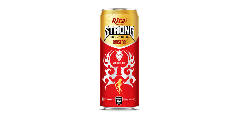Strong Energy Drink With Strawberry 330ml Can Rita Brand